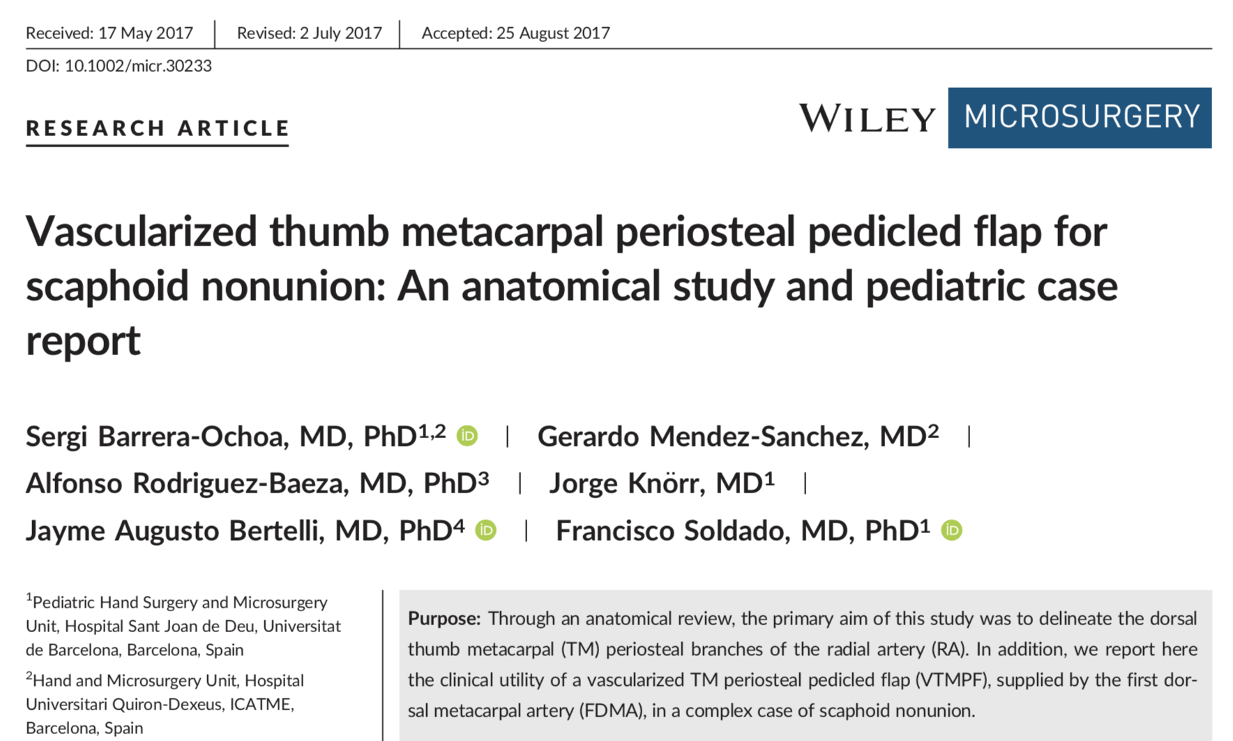 Vascularized thumb metacarpal periosteal pedicled flap for scaphoid nonunion: An anatomical study and pediatric case report