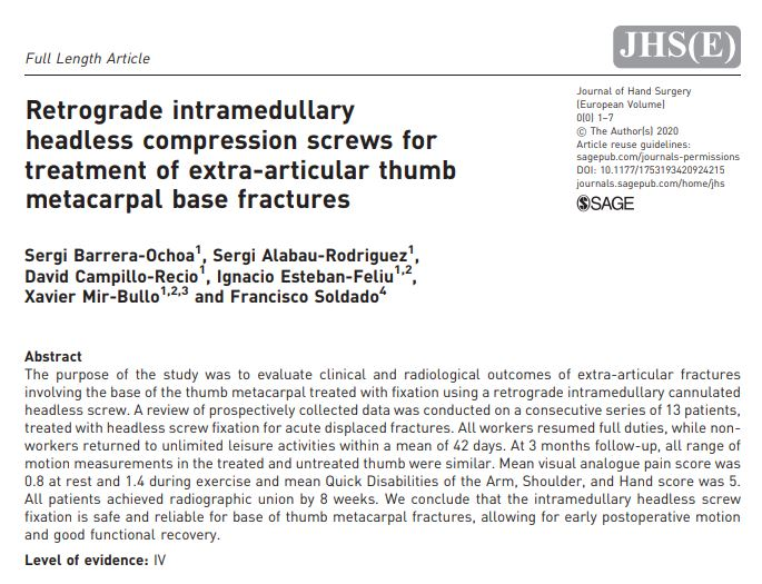 Retrograde intramedullary headless compression screws for treatment of extra-articular thumb metacarpal base fractures icatMA paper hand surgery