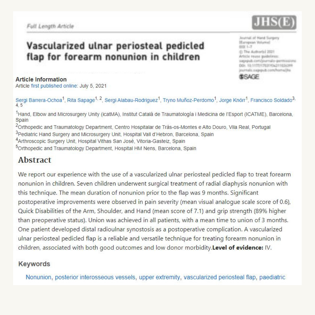 Vascularized ulnar periosteal pedicled flap for forearm nonunion in chlidren icatMA